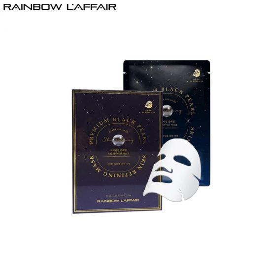 [TẶNG SỮA RỮA MẶT 150ML] Hộp 10 Mặt Nạ Ngọc Trai Chống Lão Hóa, Ngừa Mụn - Ung Thư Da Rainbow L'affair Premium Black Pearl Skin Refining Mask 300ml