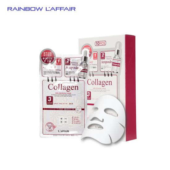 [TẶNG SỮA RỮA MẶT 150ML] Hộp 10 mặt nạ chống lão hóa - trẻ hóa da 3 bước Rainbow L'affair Collagen 280ml