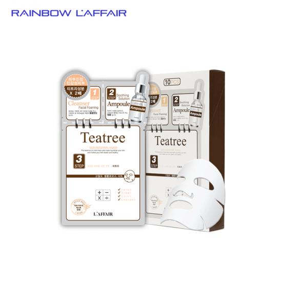 [TẶNG SỮA RỮA MẶT 150ML] 10 combo mặt nạ kiểm sót dầu - mụn 3 bước Rainbow L'affair Teatree