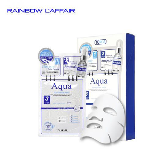 [TẶNG SỮA RỮA MẶT 150ML] 10combo mặt nạ dưỡng cho da khô 3 bước Rainbow L'affair Aqua (10 bộ x 28ml)