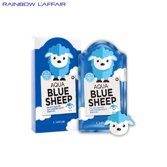 [TẶNG SỮA RỮA MẶT 150ML] Hộp 10 mặt nạ  dưỡng ẩm - chống lão hóa Rainbow Laffair Aqua Blue Sheep 250ml