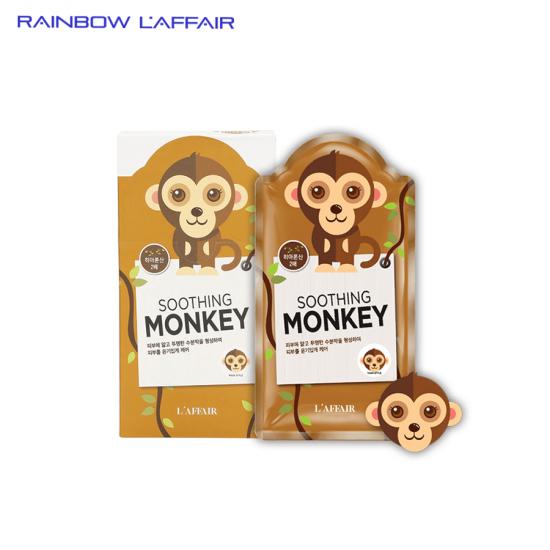[TẶNG SỮA RỮA MẶT 150ML] Hộp 10 mặt nạ chống lão hóa - ngừa mụn - săn chắc da Rainbow L'affair Soothing Monkey 250ml