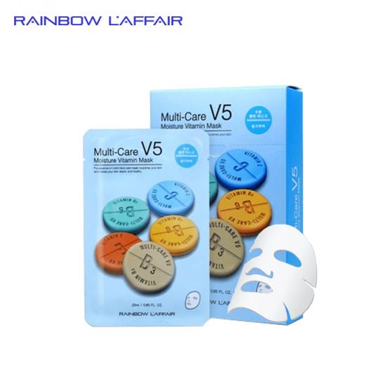 [TẶNG SỮA RỮA MẶT 150ML] Hộp 10 mặt nạ dưỡng ẩm - chống lão hóa Rainbow L'affair Multi-Care V5 Moisture Vitamin 250ml