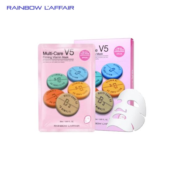 [TẶNG SỮA RỮA MẶT 150ML] Hộp 10 mặt nạ chống lão hóa - ngừa mụn - săn chắc da Rainbow L'affair Multi-Care V5 Firming Vitamin 250ml