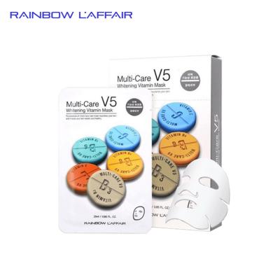 [TẶNG 1 SỮA RỬA MẶT 150ml] Hộp 10 mặt nạ dưỡng trắng - trẻ hóa da Rainbow Laffair Multi-Care V5 Whitening Vitamin  250ml