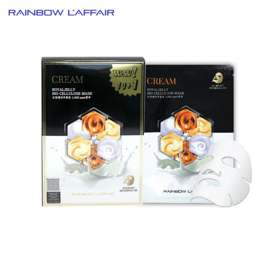 [TẶNG SỮA RỮA MẶT 150ML] Hộp 11 mặt nạ chống lão hóa - mờ thâm nám Rainbow L'affair Cream Royaljelly Bio Cellulose 330ml