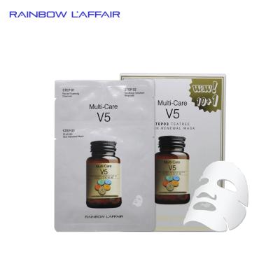 [TẶNG 1 SỮA RỬA MẶT 150ml] Hộp 11 mặt nạ trị mụn - kiềm dầu - dưỡng ẩm - nâng cơ mặt 3bước Rainbow Laffair Multi - Care V5 Teatree 363ml