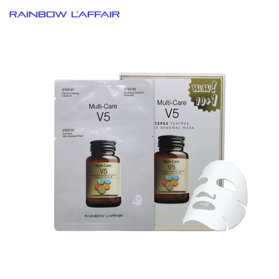 [TẶNG SỮA RỮA MẶT 150ML] Hộp 11 mặt nạ trị mụn - kiềm dầu - dưỡng ẩm - nâng cơ mặt 3bước Rainbow Laffair Multi - Care V5 Teatree 363ml