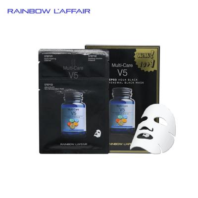[TẶNG 1 SỮA RỬA MẶT 150ml] Hộp 11 mặt nạ kiềm dầu - ngăn ngừa mụn - nâng cơ mặt 3 bước Rainbow L'affair Multi-Care V5 Aqua Black 363ml
