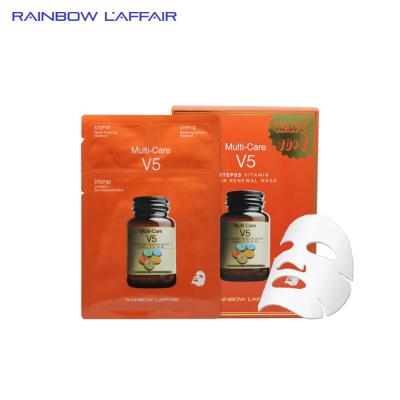 [TẶNG 1 SỮA RỬA MẶT 150ml] Hộp 11 mặt nạ chống lão hóa - trẻ hóa da - nâng cơ mặt 3 bước Rainbow Laffair Multi-Care V5 Vitamin Skin Renewal  363ml