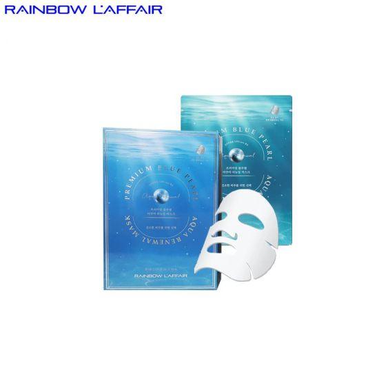 [TẶNG SỮA RỮA MẶT 150ML] Hộp 10 mặt nạ ngọc trai dùng cho da khô Rainbow L'affair Blue Pearl Aqua Renewal Mask
